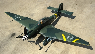 Super Scale 5-CH AirField RC Stuka 1400MM Warbird Plane w/ Brushless Motor/ESC ARF EPO Foam Plane (Camo)