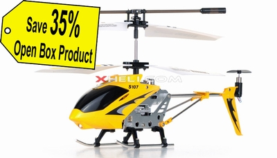 Syma 3 Channel S107 Mini Indoor Co-Axial Metal Body RC Helicopter w/ Gyro Yellow(Refurbished Open Box)