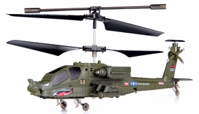 Syma S109G 3-Channel RC Indoor Mini Co-Axial Infared AH-64 Apache RC Helicopter w/ Built in Gyro (Green) RC Remote Control Radio