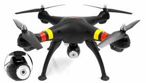 SYMA X8W WiFi FPV Headless Mode 2.4G 4CH Remote Control Quadcopter with HD 2MP Camera 6 Axis Gyro 3D Flip (Black)