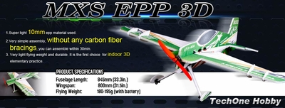 Tech One RC 4 Channel MXS Indoor Aerobatic 3D EPP Plane Almost Ready to Fly 800mm Wingspan