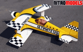 "Ultimate 120 - 55"" Nitro Gas  led ARF BiPe Airplane - Canopy RC Remote Control Radio"
