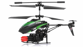 V398 3.5 Channel Missile Shooting RC Helicopter RTF with Six Missiles rapid fire (Green) RC Remote Control Radio