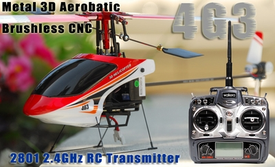 Walkera 4G3 Micro Metal 3D Aerobatic Brushless CNC RC Helicopter w/ 2801 2.4GHz RC Transmitter