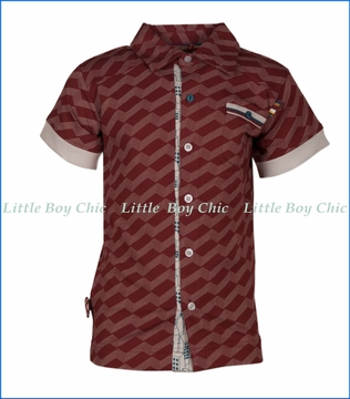 4 Funky Flavours, Ocean of Night Button Shirt in Red