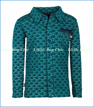 4 Funky Flavours, Planet Rock Buttoned Shirt in Blue