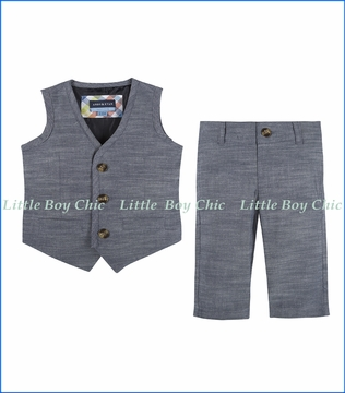 Andy & Evan, Chambray Vest & Pant Set in Blue