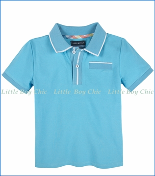 Andy & Evan, Polo Tee with ribbing in Teal