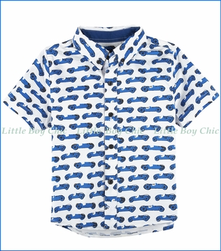 Andy & Evan, Race Car Button-down Shirt in Blue