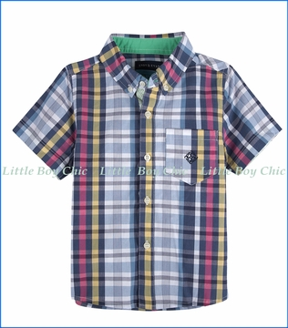 Andy & Evan, S/S Madras Plaid Shirt in Blue & Pink