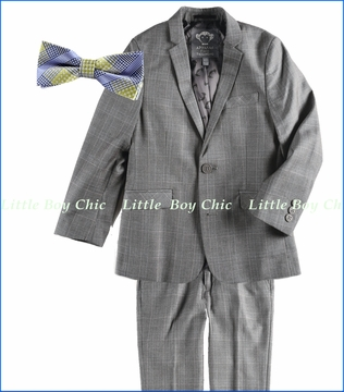 Appaman, 2-Piece Mod Suit in Empire Plaid with Green Plaid Bow Tie