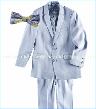Appaman, 2-Piece Mod Suit in Light Blue with Green Plaid Bow Tie