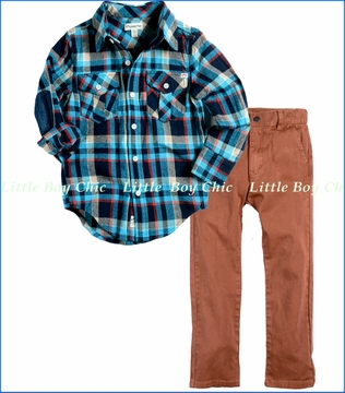 Appaman, Blue Plaid Flannel Shirt with Bushwick Pant