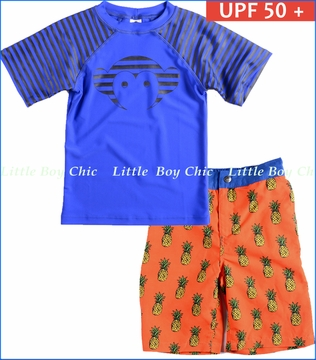 Appaman, Bottle Blue Logo Rashguard with Riis Pineapple Swim Trunks