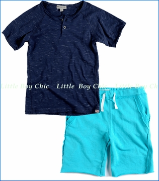 Appaman, Curved Slub Henley with Island Blue Bright Shorts