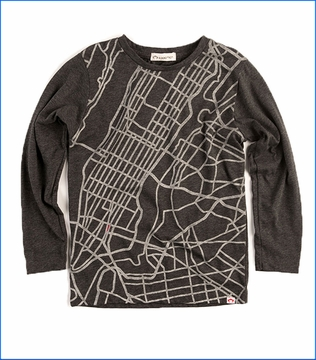 Appaman, LS Cityscape Graphic T-Shirt in Charcoal Grey