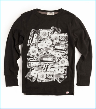 Appaman, LS Graphic Cassettes T-Shirt in Black