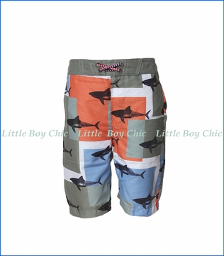 Appaman, Shark Blocks Swim Trunks in Grey