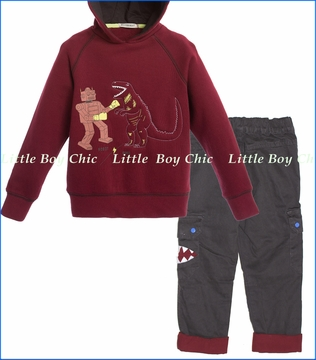 Billy Bandit, Dino Sweatshirt with Monster Cargo Pants
