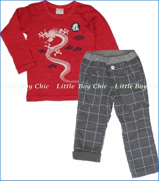 Bit'z Kids, Dragon Tee with Window Pane Fleece Lined Pants