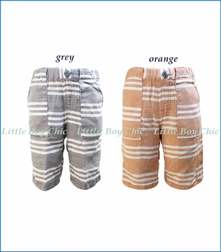 Bit'z Kids, Gauze Stripe Shorts in Grey and in Orange