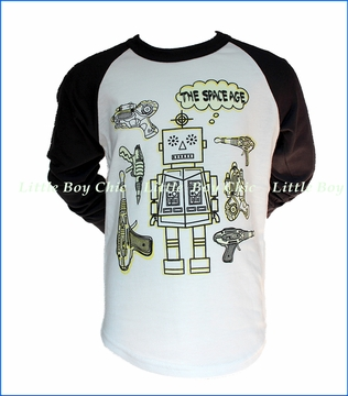 Bit'z Kids, Glow in the Dark Robot Raglan in White