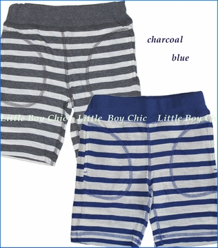 Bit'z Kids, Knitted Stripe Shorts in Blue or Charcoal (c)