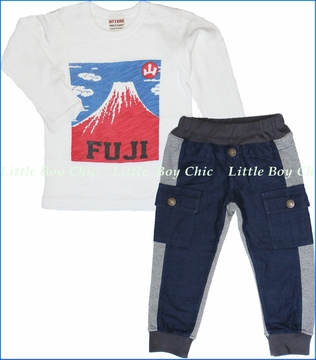 Bit'z Kids, Mount Fuji Tee with Navy Blue Cargo Pants