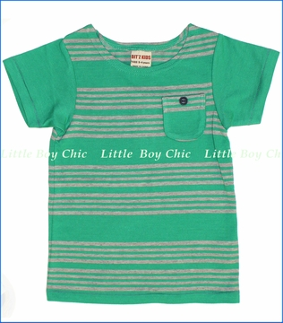 Bit'z Kids, Stripe Pocket Tee in Green (c)