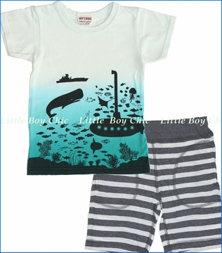 Bit'z Kids, Submarine Tee with Charcoal Stripe Shorts