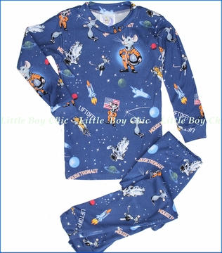 Books To Bed, Mousetronaut Pajama Set in Blue (c)