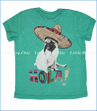 Californian Vintage, Mexican Pug Tee in Kelly Green (c)