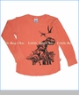 Charlie Rocket, Dino Slub Thermal Tee in Orange (c)