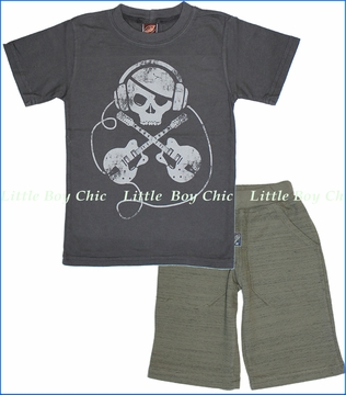 Charlie Rocket, Headphone and X Tee with Olive French Terry Shorts