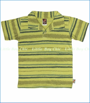 Charlie Rocket, Stripe Polo in Pear (c)