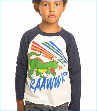 Chaser, Raawwr T-rex Tee in White Snorkel