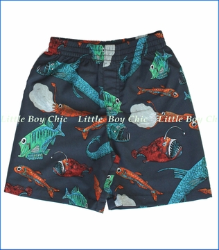 City Threads, Deep Sea Creatures Swim Shorts in Midnight (c)