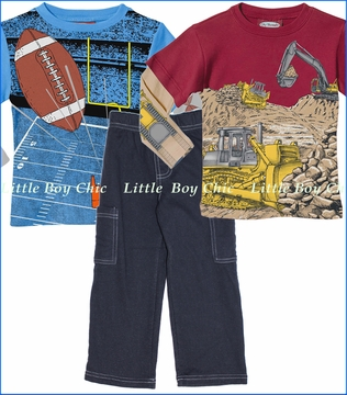 City Threads, Football and Bulldozer 2fer Tees with Fleece Pants