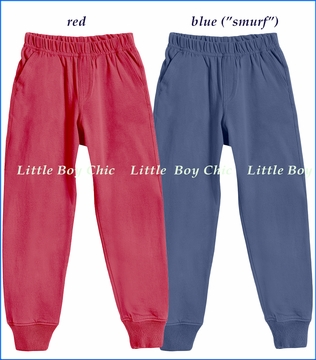 City Threads, Jersey Cuff Pants in Red and in Blue