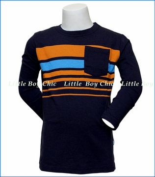 City Threads, L/S Jersey Stripe T-Shirt in Blue