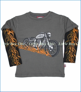 City Threads, Motorcycle 2fer with Flame in Charcoal (c)