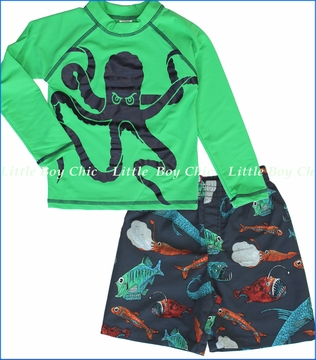 City Threads, Octopus Rashguard with Deep Sea Creatures Swim Shorts