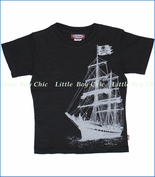 City Threads, Pirate Ship Tee in Black (c)
