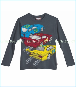 City Threads, Race Cars Tee in Charcoal