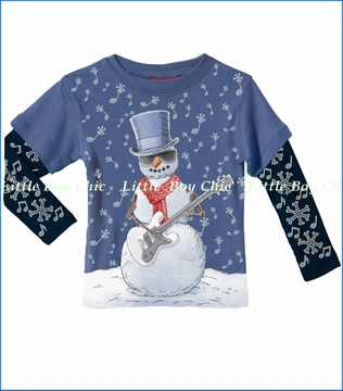 City Threads, Snowman Guitar 2fer Tee in Denim Blue