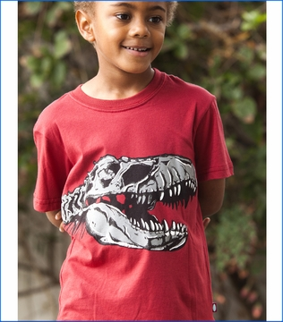 City Threads, T-Rex Skull Tee in Red (c)