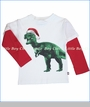 City Threads, T-Rex with Santa Hat 2fer in White (c)