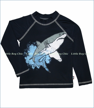 City Threads, Watercolor Shark Rashguard in Navy (c)