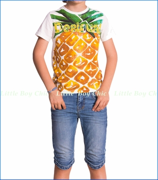 Deisgual, Pineapple Tee with Denim Shorts