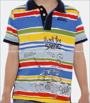 Desigual, Apache Stripe Polo in Blanco (c)